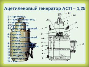 Ацетиленовый генератор АСП – 1,25 1 – горловина; 2 – газообразователь; 3 – вы