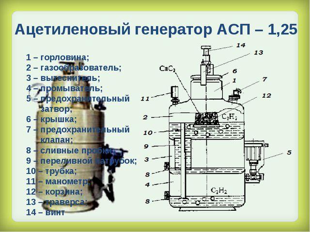 Ацетиленовый генератор АСП – 1,25 1 – горловина; 2 – газообразователь; 3 – вы...
