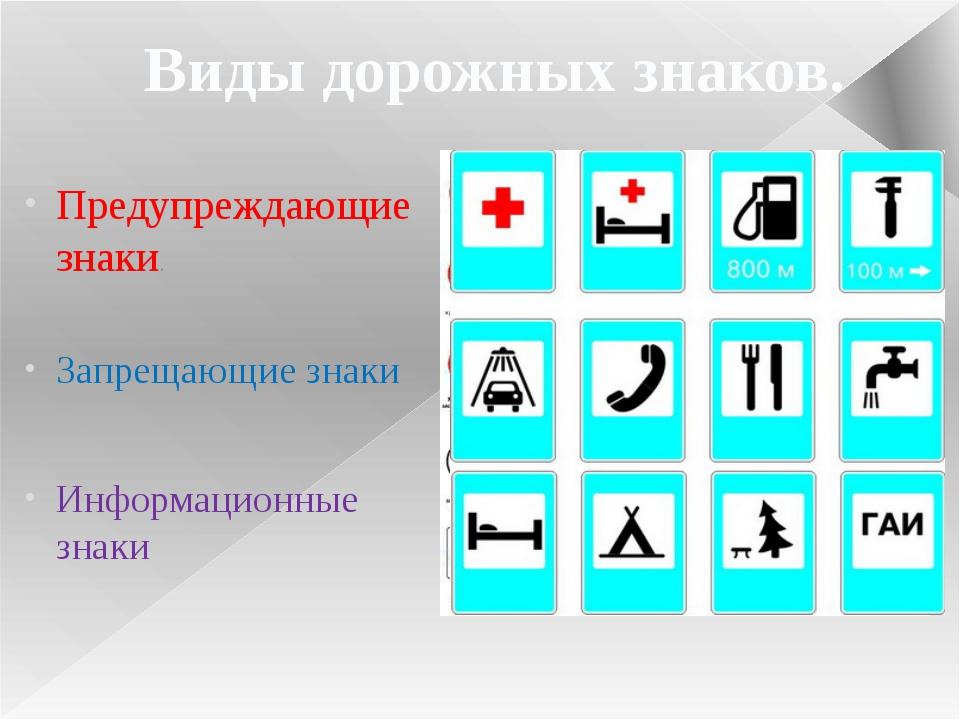 Предупреждающие знаки. Запрещающие знаки Информационные знаки Виды дорожных з...