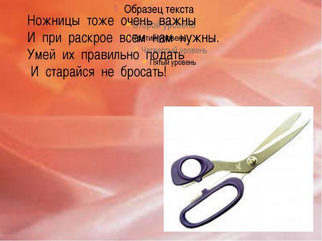 Ножницы тоже очень важны И при раскрое всем нам нужны. Умей их правильно под...
