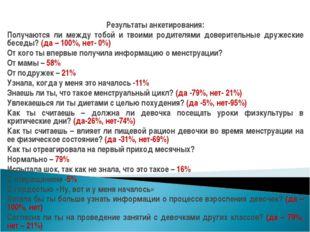 Результаты анкетирования: Получаются ли между тобой и твоими родителями довер