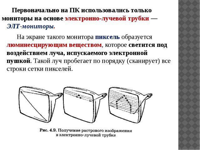 Первоначально на ПК использовались только мониторы на основе электронно-луче...