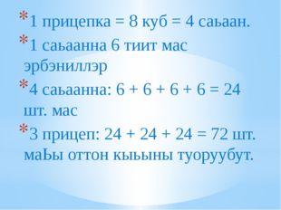 1 прицепка = 8 куб = 4 саьаан. 1 саьаанна 6 тиит мас эрбэниллэр 4 саьаанна: 6
