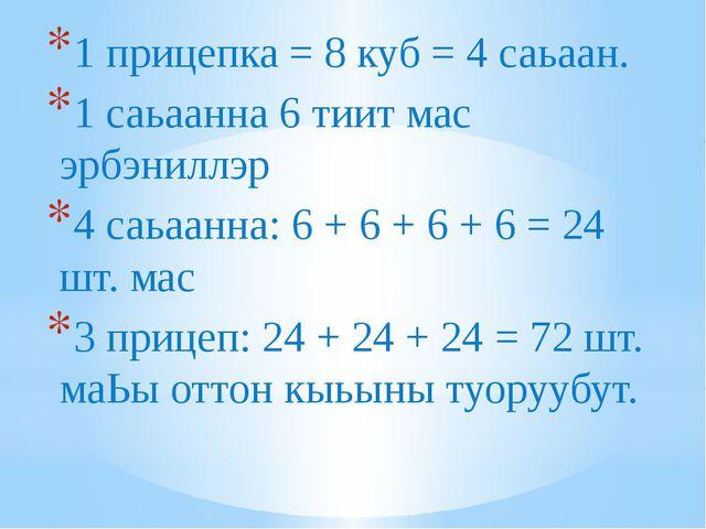 1 прицепка = 8 куб = 4 саьаан. 1 саьаанна 6 тиит мас эрбэниллэр 4 саьаанна: 6...