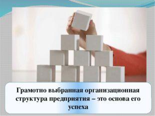 Грамотно выбранная организационная структура предприятия – это основа его усп