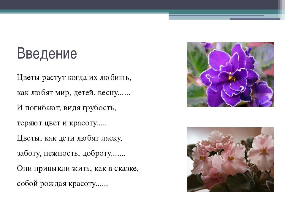 Введение Цветы растут когда их любишь, как любят мир, детей, весну...... И по...