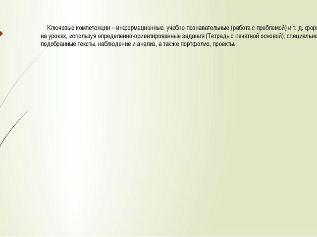 Ключевые компетенции – информационные, учебно-познавательные (работа с пробл...