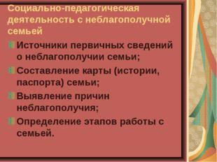 Социально-педагогическая деятельность с неблагополучной семьей Источники перв