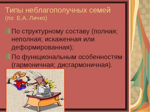 Типы неблагополучных семей (по Е.А. Личко) По структурному составу (полная; н...