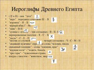 """Иероглифы Древнего Египта ( П + Н) - пен """"этот"""" . """"перо""""  передавал сочетан"""