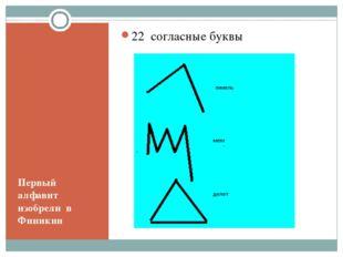 Первый алфавит изобрели в Финикии 22 согласные буквы