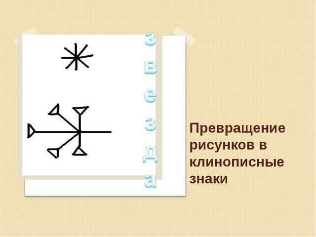 Превращение рисунков в клинописные знаки