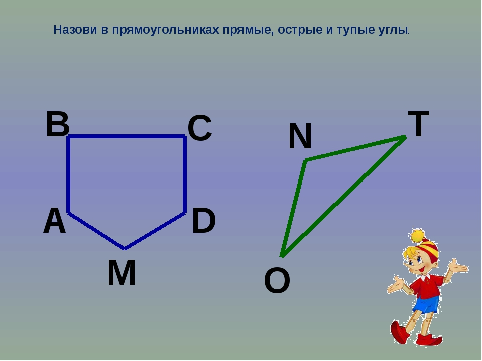 Назови в прямоугольниках прямые, острые и тупые углы. В А М D C N Т О