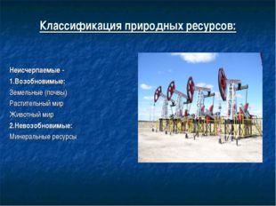 Классификация природных ресурсов: Неисчерпаемые - 1.Возобновимые: Земельные (