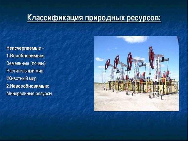 Классификация природных ресурсов: Неисчерпаемые - 1.Возобновимые: Земельные (...