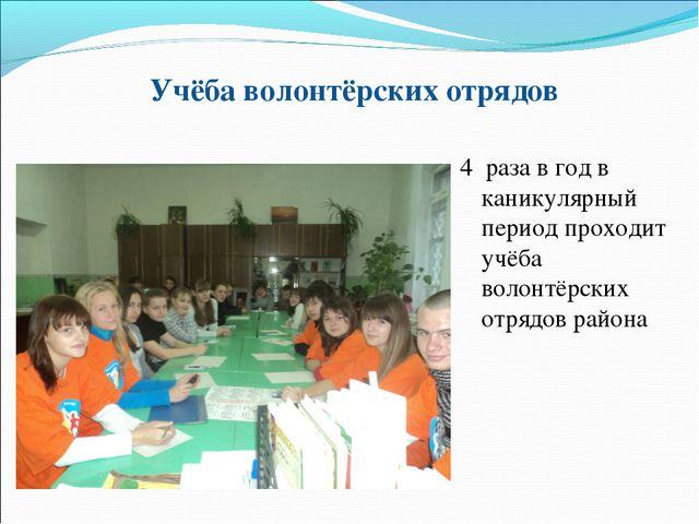 Учёба волонтёрских отрядов 4 раза в год в каникулярный период проходит учёба...
