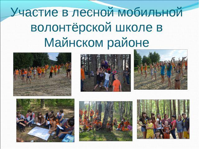 Участие в лесной мобильной волонтёрской школе в Майнском районе