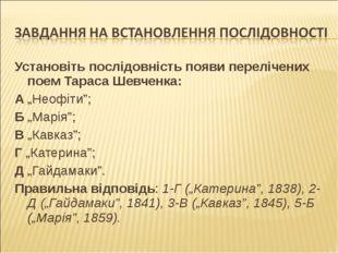 """Установіть послідовність появи перелічених поем Тараса Шевченка: А """"Неофіти"""";"""