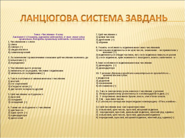 Тема: «Числівник» 6 клас Завдання 1-12 мають варіанти відповідей, із яких лиш...