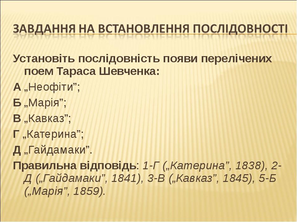 """Установіть послідовність появи перелічених поем Тараса Шевченка: А """"Неофіти"""";..."""