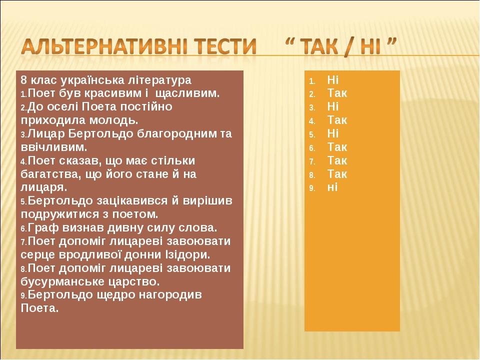 8 клас українська література Поет був красивим і щасливим. До оселі Поета пос...