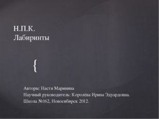 Н.П.К. Лабиринты Авторы: Настя Маринина Научный руководитель: Королёва Ирина