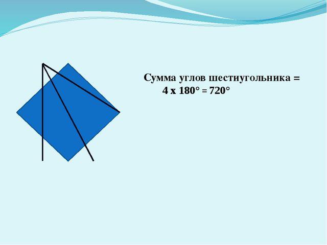 Сумма углов шестиугольника = 4 х 180° = 720°