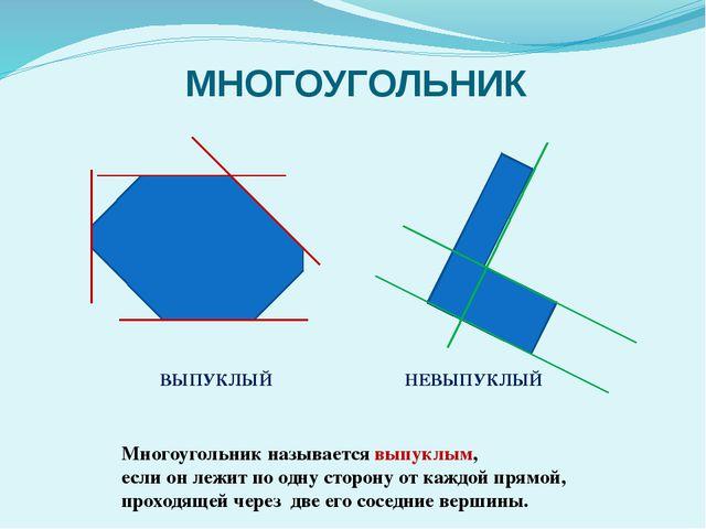 МНОГОУГОЛЬНИК Многоугольник называется выпуклым, если он лежит по одну сторон...