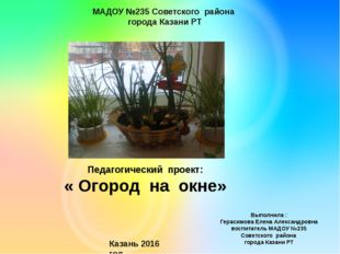 Педагогический проект: « Огород на окне» Выполнила : Герасимова Елена Алексан