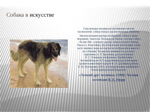 Собака в искусстве Сопровождая человека на протяжении многих тысячелетий, соб...
