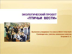 ЭКОЛОГИЧЕСКИЙ ПРОЕКТ «ПТИЧЬИ ВЕСТИ» Выполнен учащимися 3-а класса МБОУ СОШ №2
