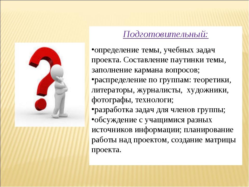 Подготовительный: определение темы, учебных задач проекта. Составление паутин...