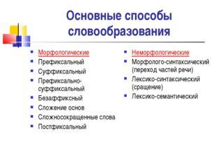 Основные способы словообразования Морфологические Префиксальный Суффиксальный