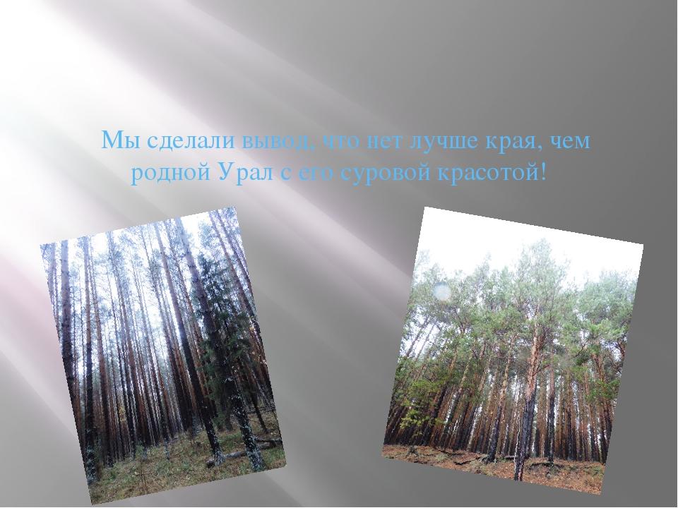 Мы сделали вывод, что нет лучше края, чем родной Урал с его суровой красотой!