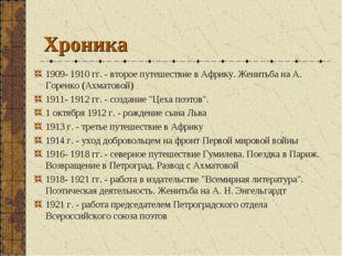 Хроника 1909- 1910 гг. - второе путешествие в Африку. Женитьба на А. Горенко