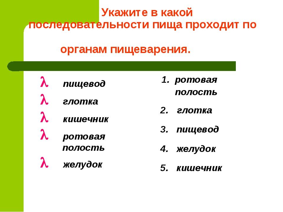 Укажите в какой последовательности пища проходит по органам пищеварения. О п...