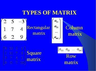 TYPES OF MATRIX Rectangular matrix Column matrix Square matrix Row matrix