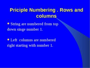 Priciple Numbering . Rows and columns String are numbered from top down singe