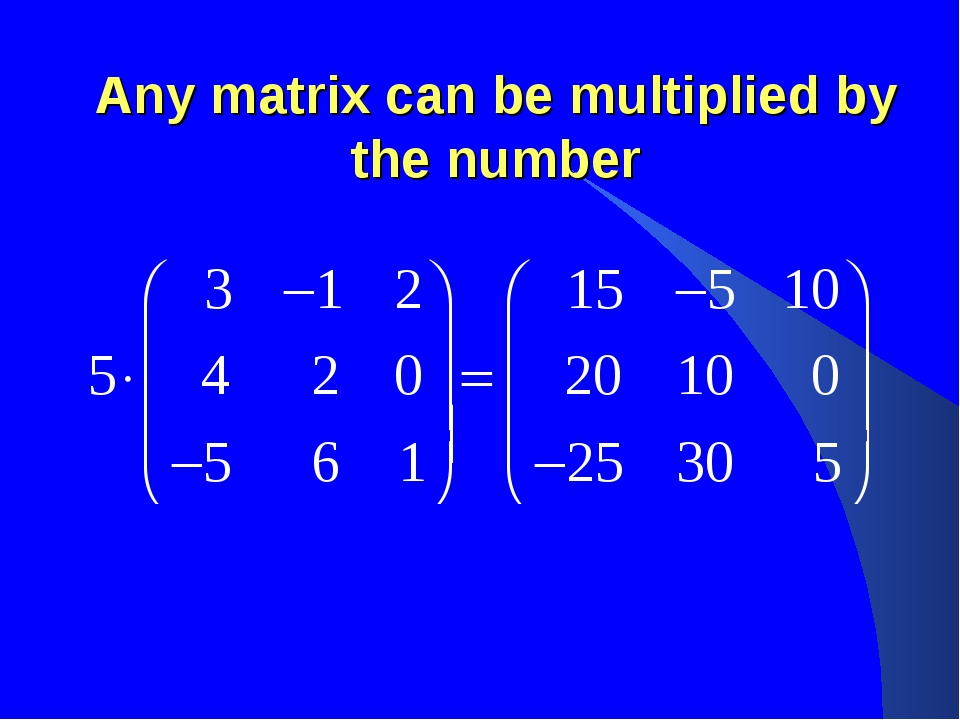 Any matrix can be multiplied by the number