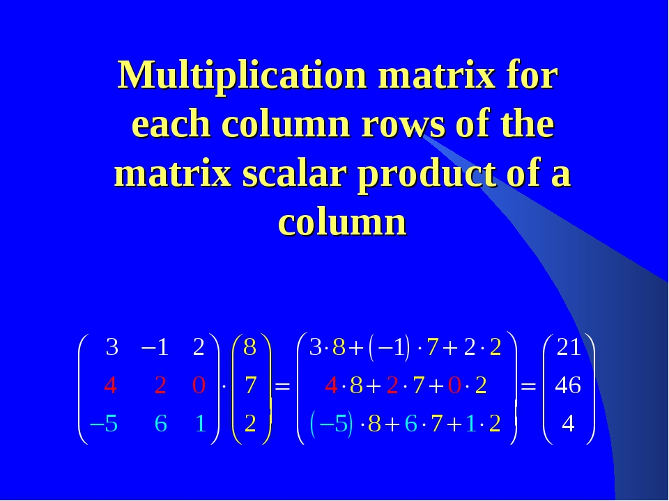 Multiplication matrix for each column rows of the matrix scalar product of a...