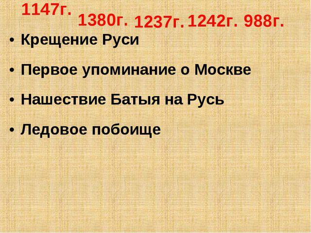 Крещение Руси Первое упоминание о Москве Нашествие Батыя на Русь Ледовое побо...