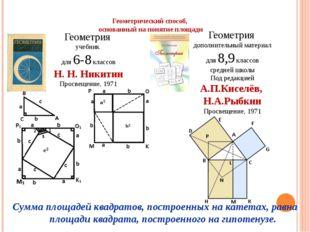Геометрический способ, основанный на понятие площади Геометрия учебник для 6-