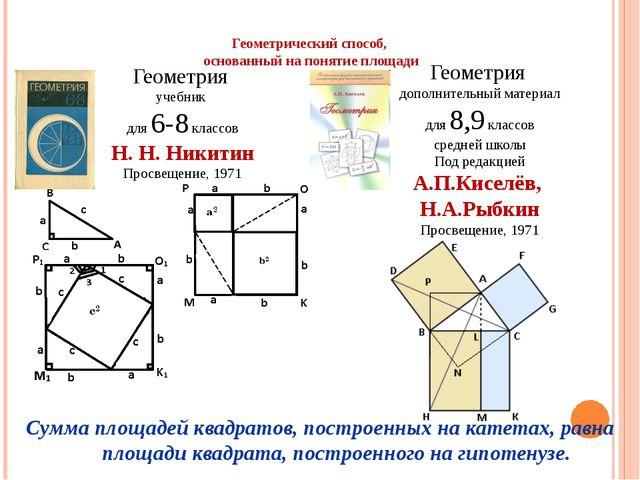 Геометрический способ, основанный на понятие площади Геометрия учебник для 6-...