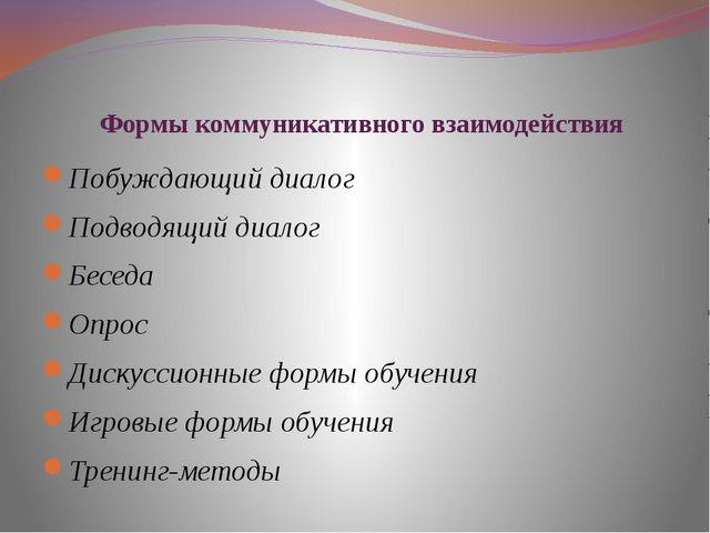 Формы коммуникативного взаимодействия Побуждающий диалог Подводящий диалог Бе...