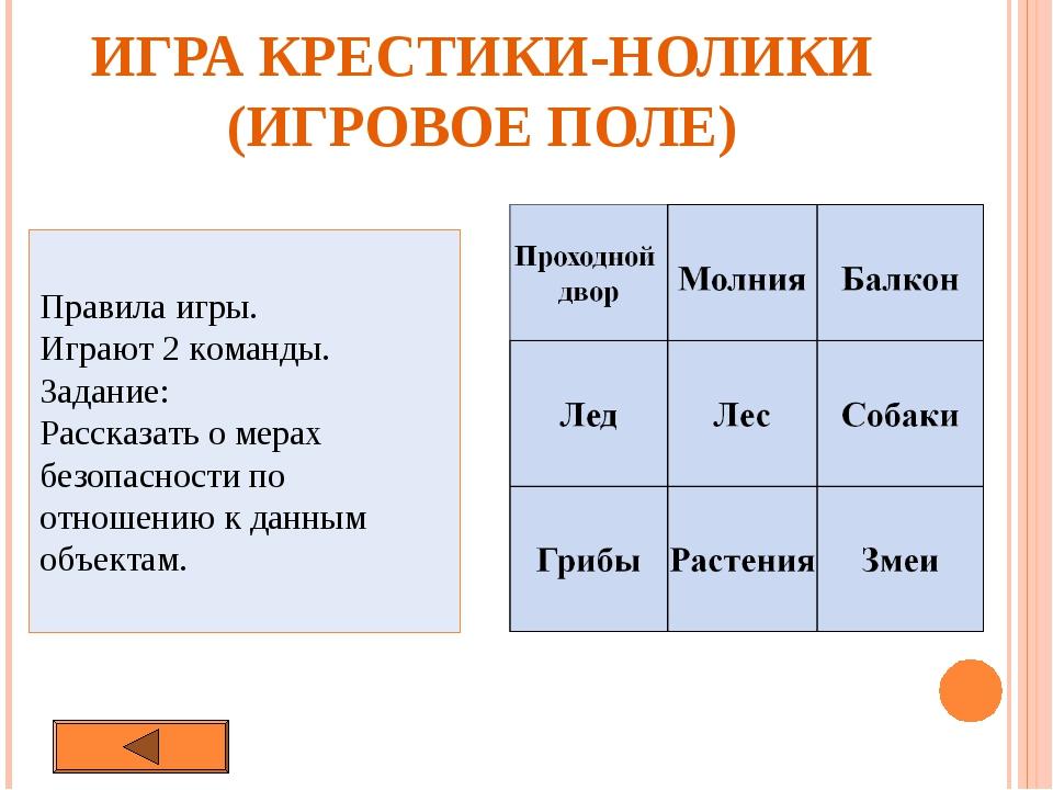 ИГРА КРЕСТИКИ-НОЛИКИ (ИГРОВОЕ ПОЛЕ) Правила игры. Играют 2 команды. Задание:...