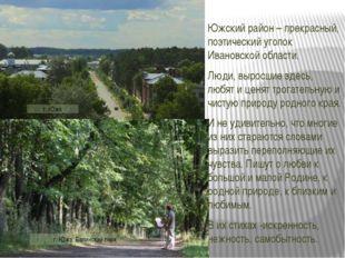 Южский район – прекрасный, поэтический уголок Ивановской области. Люди, вырос
