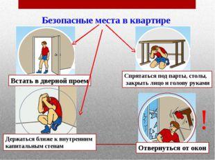Безопасные места в квартире Встать в дверной проем Спрятаться под парты, сто