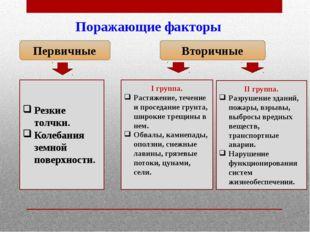 Поражающие факторы Первичные Вторичные I группа. Растяжение, течение и просед