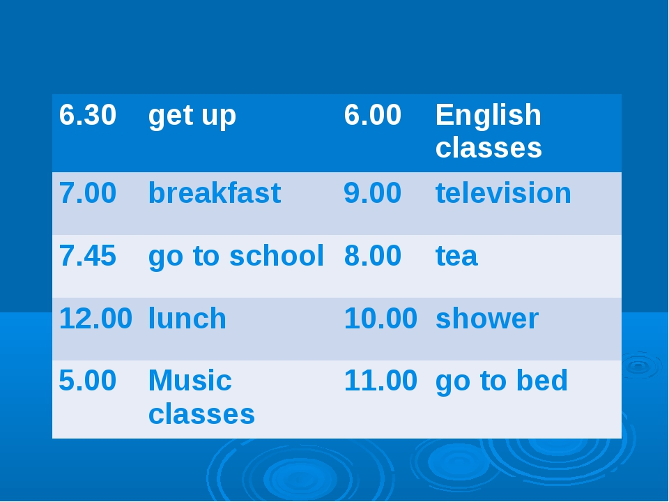 6.30	get up	6.00	English classes 7.00	breakfast	9.00	television 7.45	go to sc...