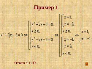 Пример 1 Ответ: {-1; 1}